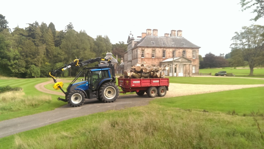 TD Tree & Land Services Tractor at Yester House, Gifford, East Lothian